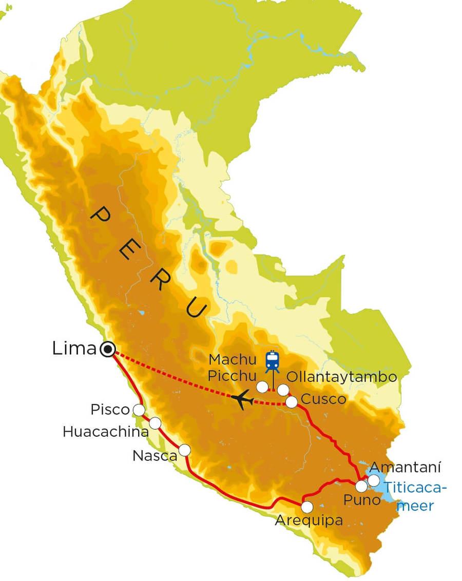 Routekaart Peru, 21 dagen