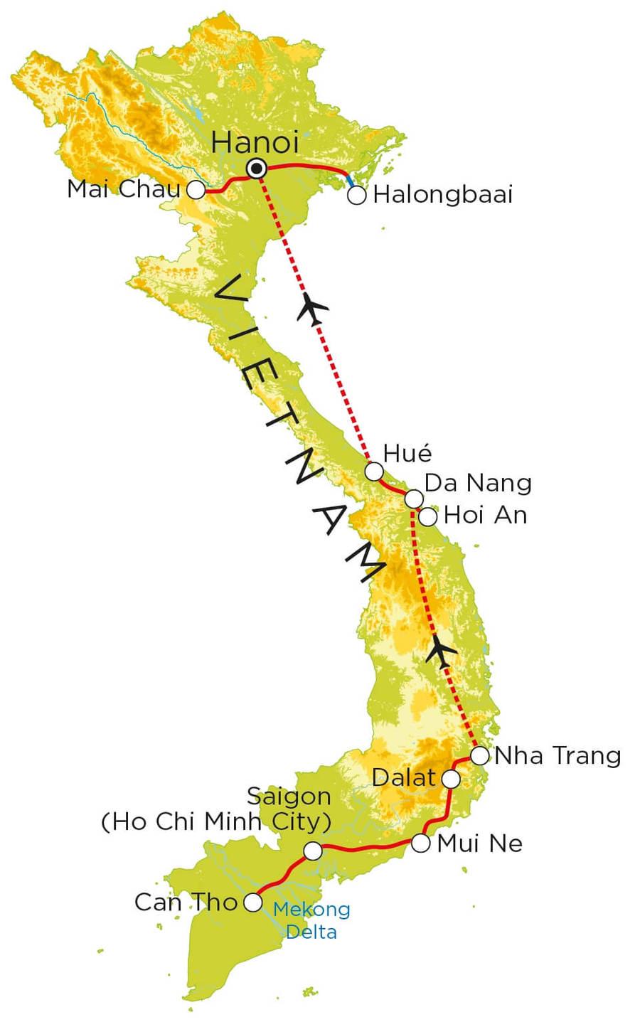 Routekaart Vietnam, 23 dagen