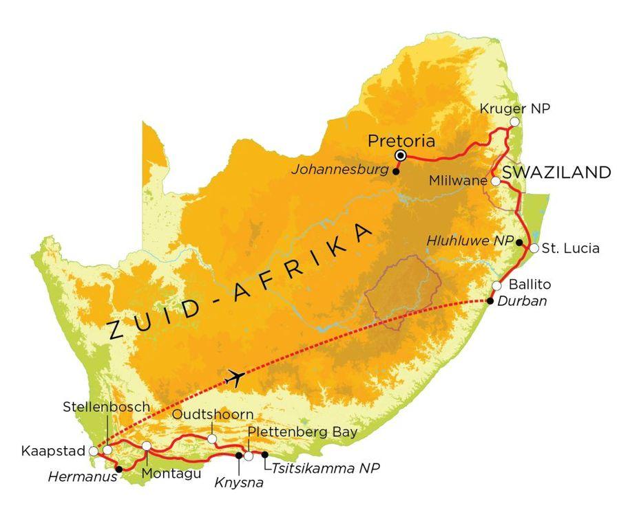 Routekaart Zuid-Afrika & Swaziland, 21 dagen