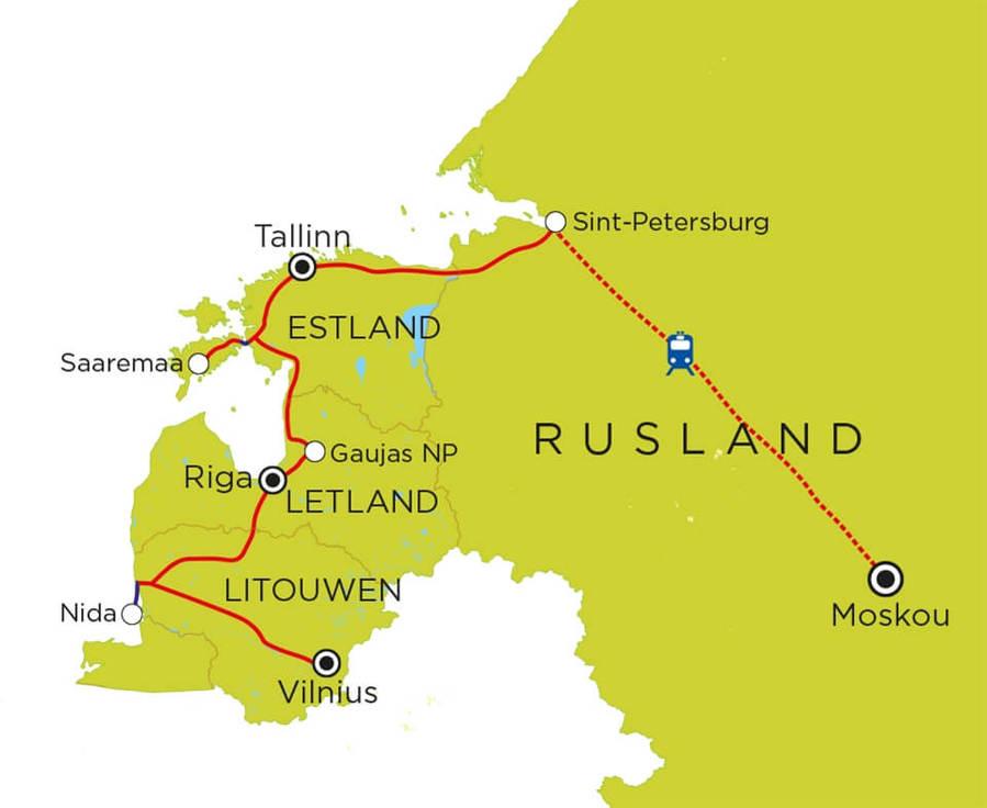 Routekaart Baltische Staten, St. Petersburg en Moskou, 20 dagen
