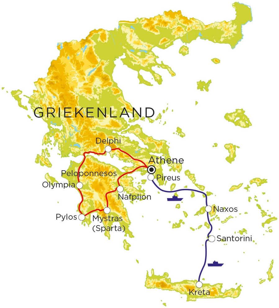 Routekaart Griekenland, 20 dagen