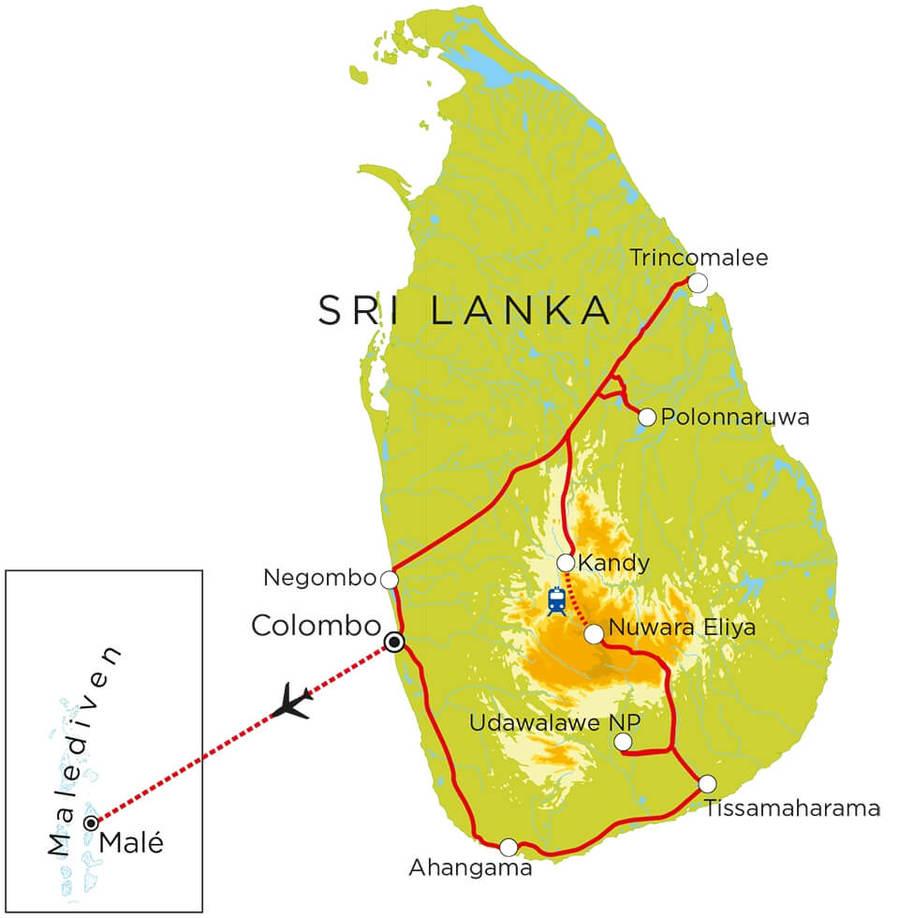 Routekaart Sri Lanka & Malediven, 21 dagen