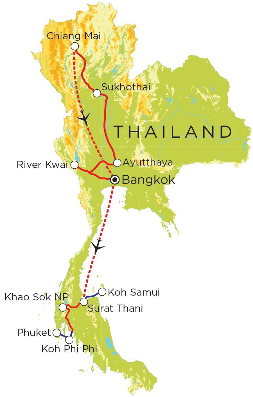 Routekaart Thailand Noord & Zuid, 21 dagen