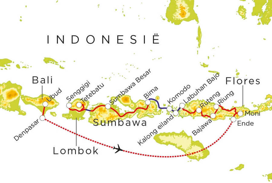 Routekaart Indonesië, 21 dagen