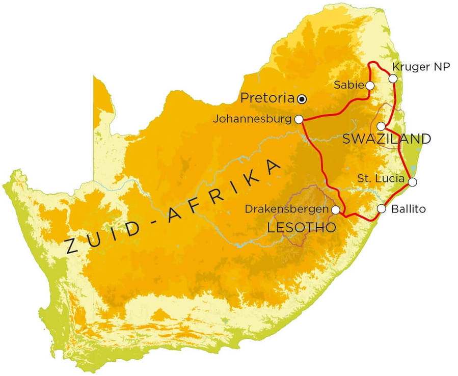 Routekaart Zuid-Afrika noord & Swaziland 15 dagen