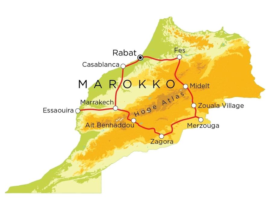 Routekaart Marokko, 15 dagen