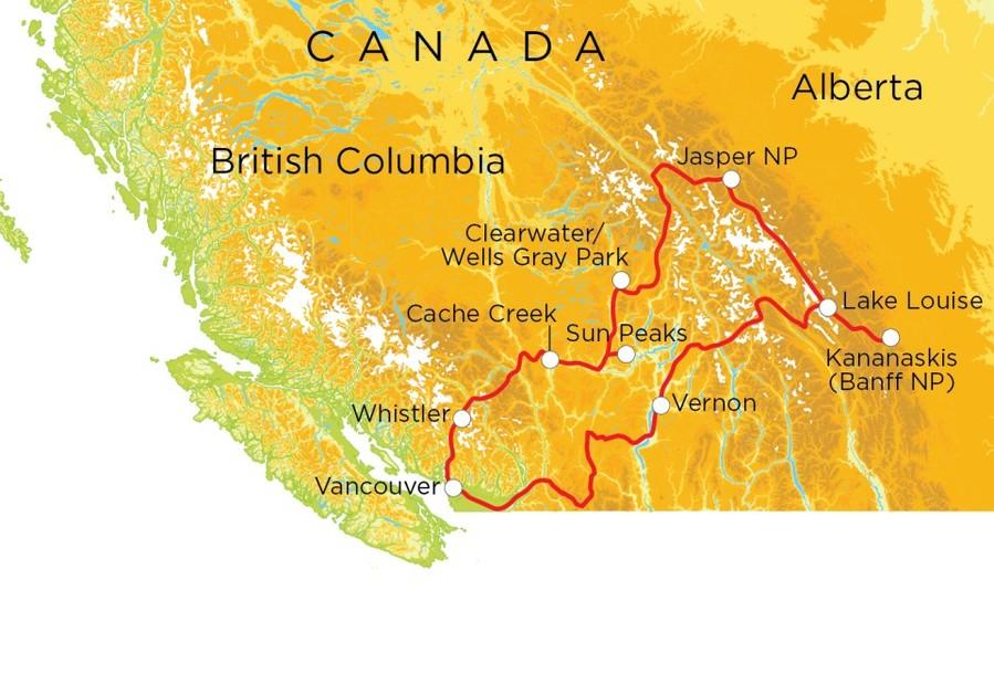 Routekaart Canada, 20 dagen hotel/kampeerreis