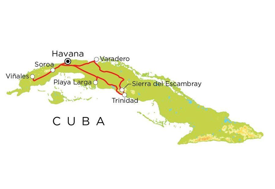 Routekaart Cuba, 15 dagen