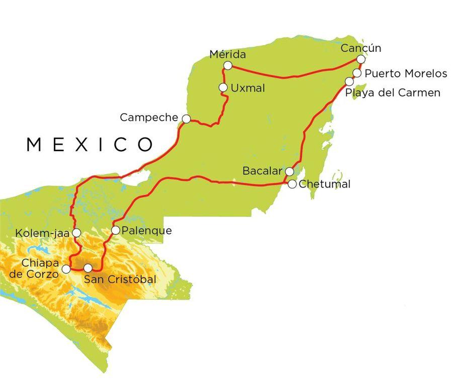 Routekaart Mexico, 20 dagen