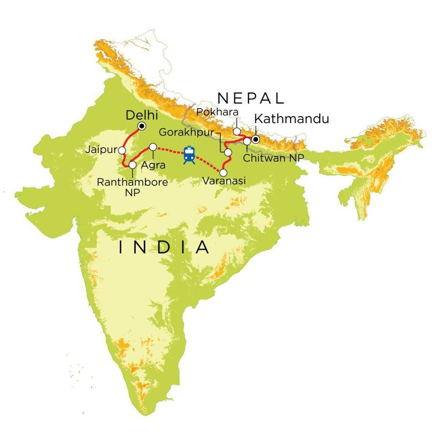 Routekaart India & Nepal, 21 dagen