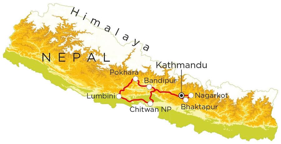 Routekaart Nepal, 18 dagen