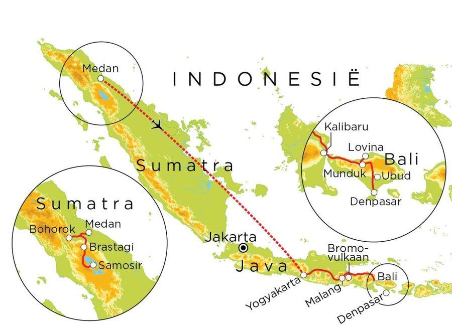 Routekaart Sumatra, Java & Bali, 23 dagen