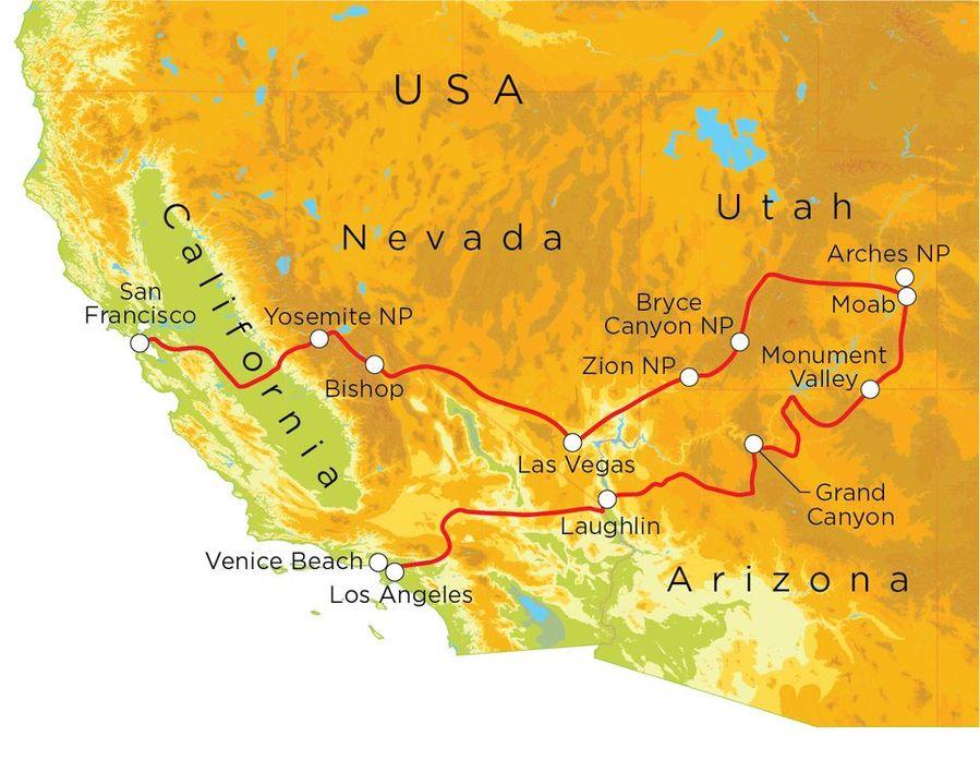 Routekaart Verenigde Staten Westkust, 21 dagen