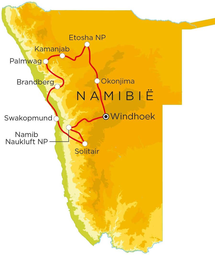 Routekaart Namibië Selfdrive, 21 dagen