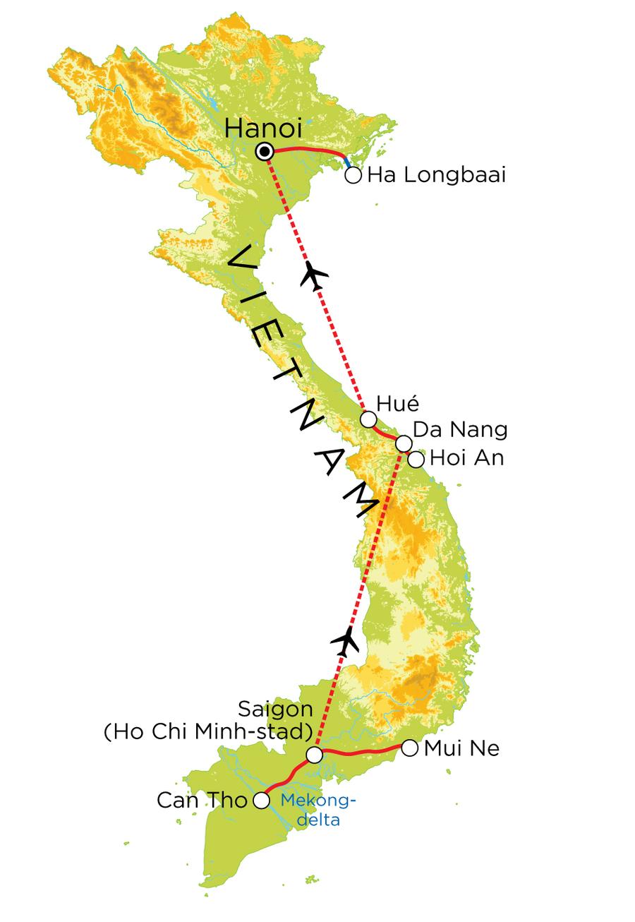 Routekaart Vietnam, 15 dagen