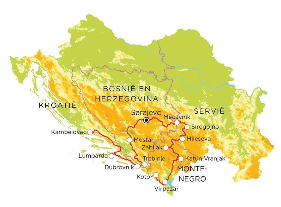 Routekaart Servië, Bosnië en Herzegovina, Kroatië & Montenegro, 20 dagen