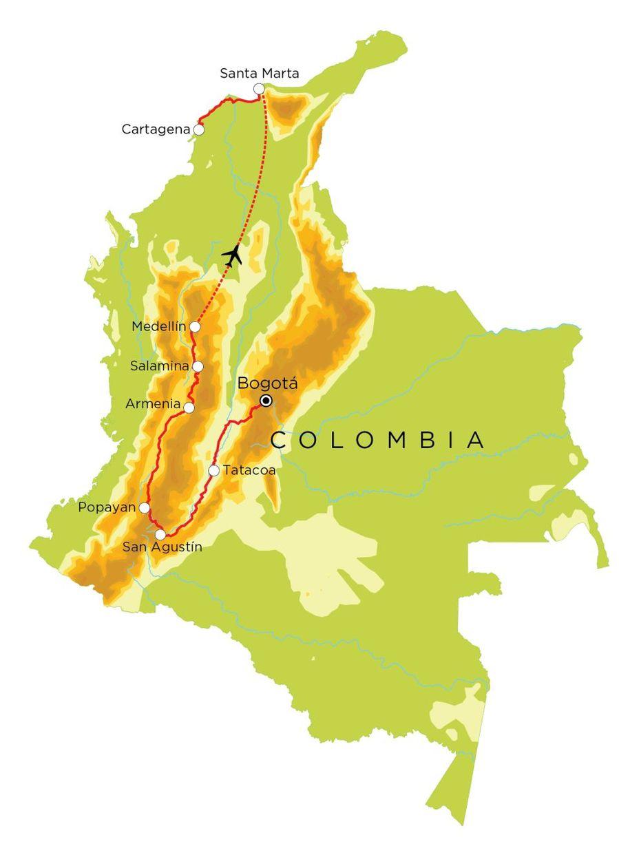 Routekaart Colombia, 21 dagen