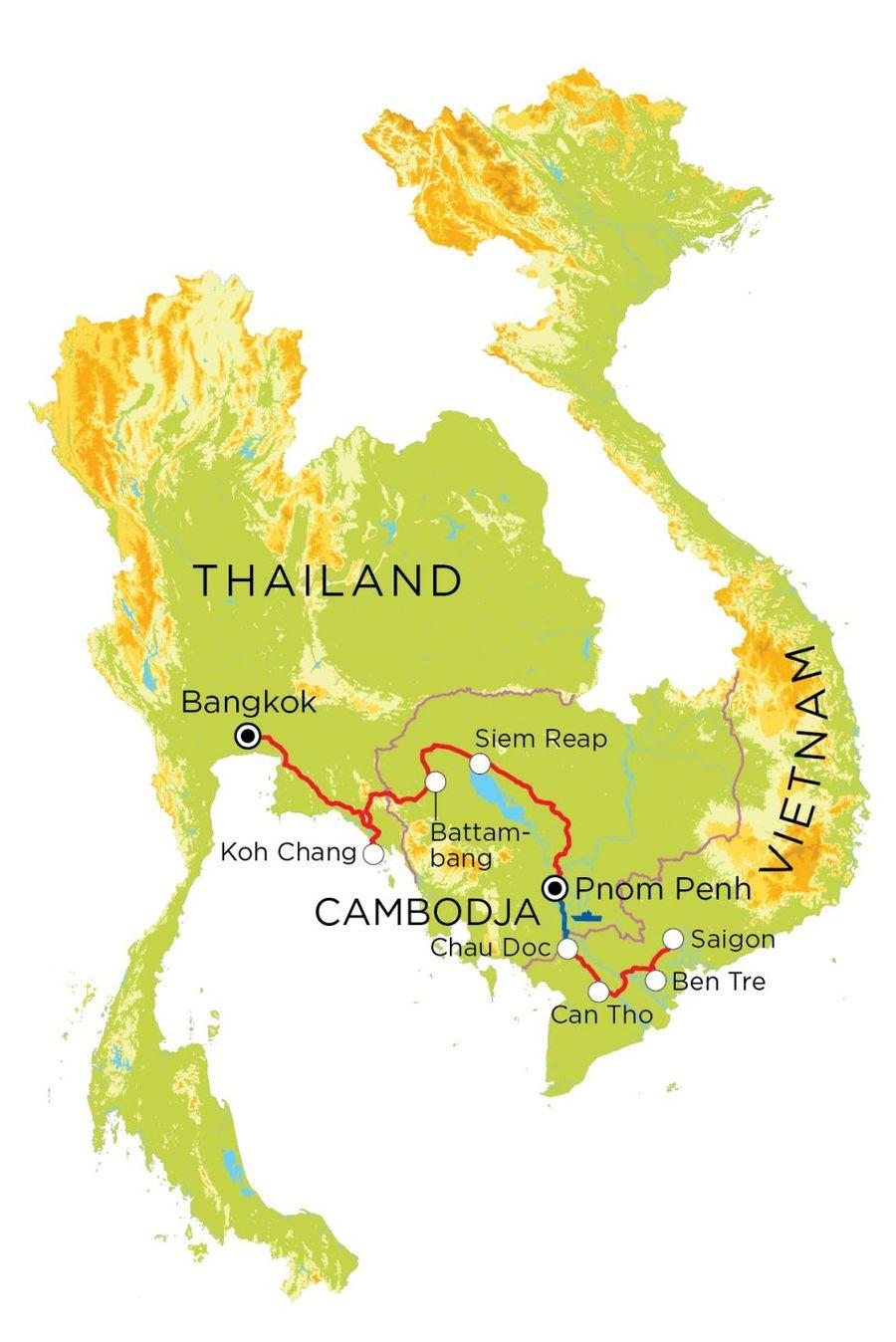 Routekaart Vietnam, Cambodja & Thailand, 21 dagen