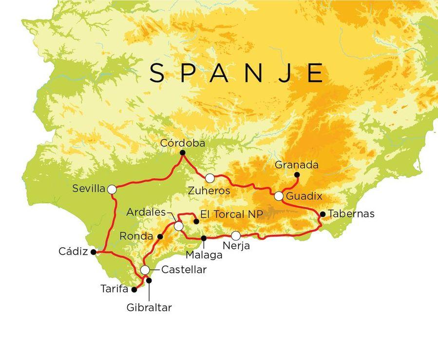 Routekaart Spanje, 18 dagen