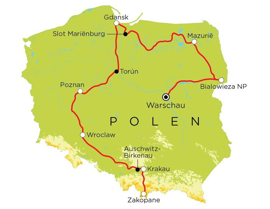 Routekaart Polen, 15 dagen